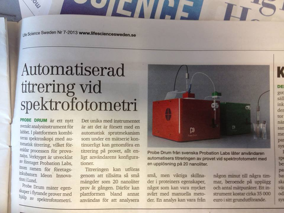 Probe Drum featured in this month's Life Science Sweden